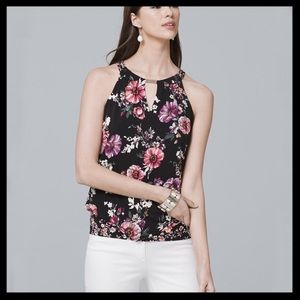 WHBM Sleeveless Floral Print Chocker Top